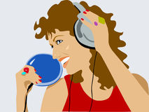 Music. Girl with headphones & player Stock Illustration