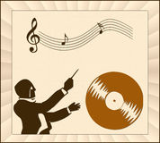 Music. Abstract music illustration, with silhouette stock illustration