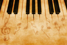 Music. Abstract music background - Keyboard and musical notes Stock Images
