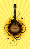 Music abstract. Acoustic guitar on a floral background Stock Images