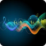 Music abstract background. Sound waves, equalizer, treble clef, notes Stock Image
