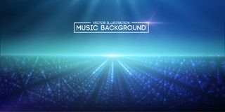 Music abstract background blue. Eps10 vector illustration. Music abstract background blue. Equalizer for music, showing sound waves with music waves, music Vector Illustration
