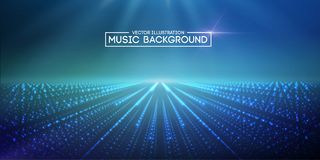 Music abstract background blue. Eps10 vector illustration. Music abstract background blue. Equalizer for music, showing sound waves with music waves, music Stock Illustration