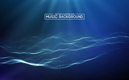 Music abstract background blue. Equalizer for music, showing sound waves with music waves, music background equalizer. Vector Royalty Free Stock Image
