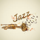Background with trumpet and notes Stock Images