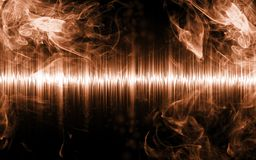 Abstract soundwave with smoke shapes. Music abstract concept illustration, sound wave and smoke colored and glowing, graphic resource Stock Images