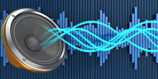 Music. Abstract 3d illustration of audio waves and speaker Royalty Free Stock Image