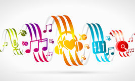 Music. Abstract illustration . Colorful ribbons and icons Stock Photos