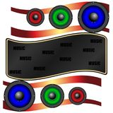 Abstraction multicolored acoustic speakers. Music abstraction, multicolored acoustic speakers. Vector, Illustration Stock Image