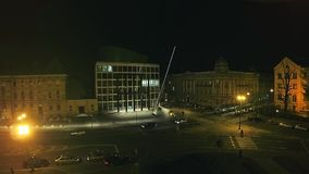 Music Academy in Zagreb - aerial shot stock footage