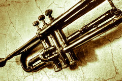 A jazz trumpet from the 1940s. Music accompanies us in good times and bad times Royalty Free Stock Image