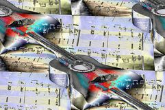 Classical guitars, musical notes, music is in the air. Music accompanies us throughout life royalty free illustration
