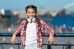 Music account playlist. Customize your music. Discovering new music styles is great way into culture. Kid little girl. Listen song headphones. Girl child listen stock image