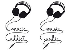 Music addict, vector headphone. Music addict, headphone cable writing, vector illustration Royalty Free Stock Photography