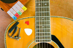 Music alphabet with acoustic guita Royalty Free Stock Photo