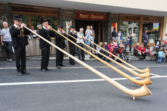 Music with alphorn at the annual transhumance at Engelberg on th Stock Photo