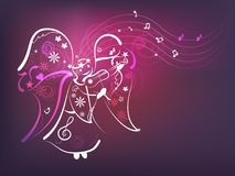Music angel. Violet background with angel playing violin Stock Photos
