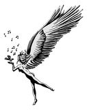 Music angel. A black and white image of an angel, holding a bird Royalty Free Stock Photos