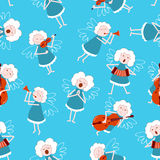 Music angels seamless. Music angels seamless pattern. Christmas background Royalty Free Stock Image