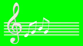 Music animation with treble clef swinging on the score sheet, the notes are shown, animated music thema on green screen. FullHD video 1920x1080 stock video