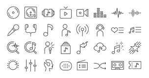 Music app icon set. Included the icons as song, playlist, vector illustration