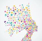 Music app icons splash Woman hea Stock Image