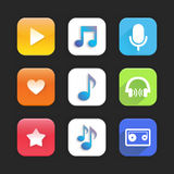 Music app. Set of icons on a theme music. Vector illustration Stock Image