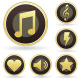 Music appreciation icons on vector button set. Music appreciation icons on modern brown and gold vector button set, including music notes, treble clef Royalty Free Stock Photos