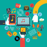 Music apps concept poster print Royalty Free Stock Photo