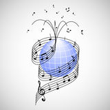 Music around the world. Stave and notes like ribbon wrapped around the earth Royalty Free Stock Photos
