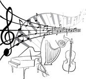 Music art. A illustration of instrument graphic bacgraund Royalty Free Stock Images
