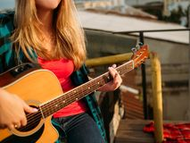Music art play guitar perform inspiration vocation. Girl musician playing guitar. Performer lifestyle. Inspiration vocation music art concept Royalty Free Stock Images
