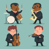 Music Artist Player Concept Character Icons Set Cartoon Design Template Vector Illustration Stock Images