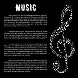 Music arts banner with treble clef and notes. Black and white musical banner with treble clef symbol, created of musical notes, bass clefs, key signatures Royalty Free Stock Images