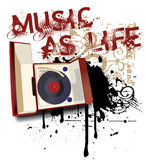 Music as Life. Grunge vignette with old-fashioned record player and by inscription  Music as Life Royalty Free Stock Photos