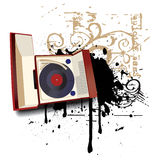 Music as Life II. Grunge vignette with old-fashioned record player Stock Photography