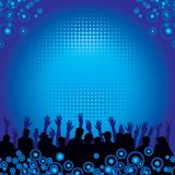 Music audience background. Blue and black illustration of audience at a concert, vector format available Royalty Free Stock Photo