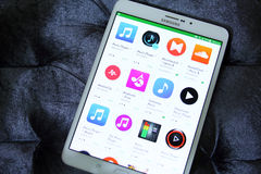 Music and audio apps on google play store Royalty Free Stock Photos
