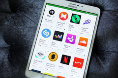 Music and audio apps on google play store Stock Photography