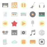 Music and audio flat icons set Royalty Free Stock Photography