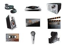 Music/audio icon set stock illustration
