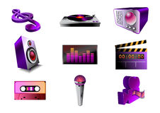 Music/audio icon set Royalty Free Stock Image