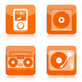 Music audio icons. Music audio icon set with digital and analog musical devices on white background stock illustration