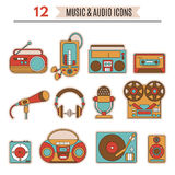 Music and audio icons. Symbols of retro tape, cassette, boombox, turntable, records Vector Illustration