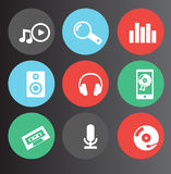 Music and audio icons Stock Image
