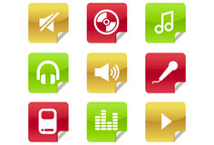 Music and Audio Icons for Website / Blog. A set of 9 internet icons and buttons Stock Image