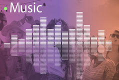 Music Audio Melody Wave Graphic Concept. People Listening Music Audio Melody Wave Royalty Free Stock Photos
