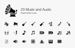 23 Music and Audio Pixel Perfect Icons. Everybody loves music. Now, here's a set of icons for developers who are creating apps for music and audio Stock Photo