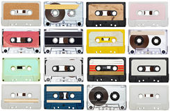 Music audio tape vintage. Collection of various vintage audio tapes on white background. each one is shot separately Stock Photos