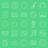 Music and audio thin lines icons set Royalty Free Stock Photography